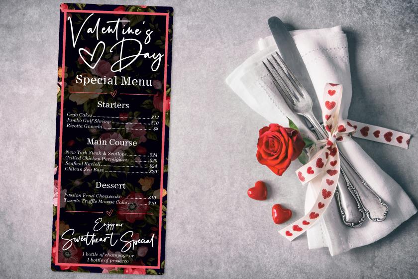 Valentine's Day menu for a restaurant