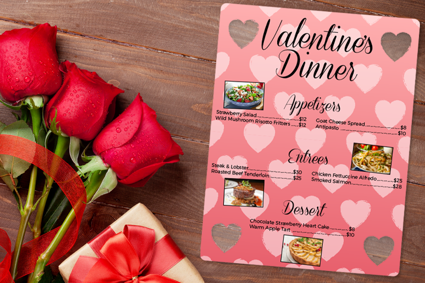 Menu design for Valentine's Day dinner