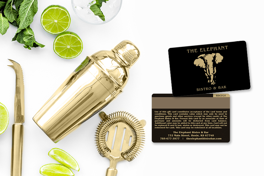 Metallic Gold Gift Card with Magnetic Stripe for The Elephant Bistro & Bar