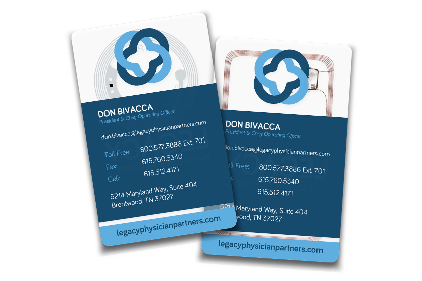 Clear Business Cards with NFC Technology for Legacy Physician Partners