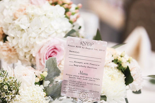 Example of Pink Wedding RSVP cards by Plastic Printers, Inc.