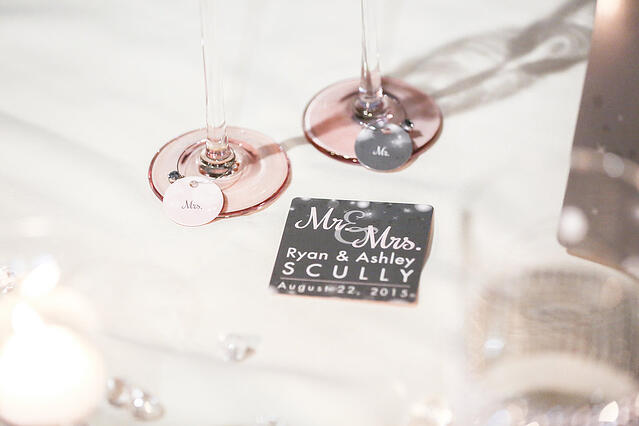 Example of wedding coasters & wedding wine charms by Plastic Printers