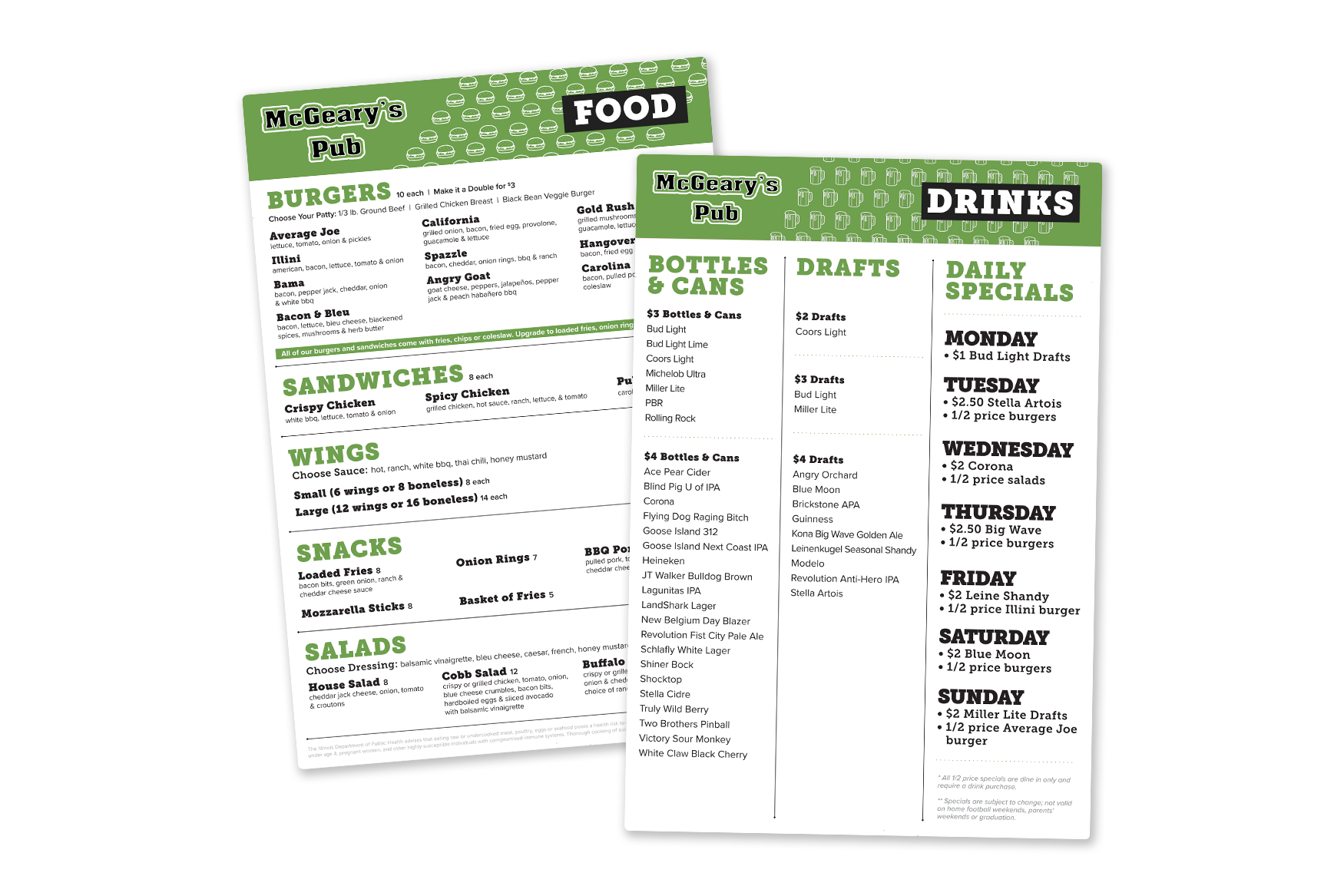 Bar menu with food and drink specials