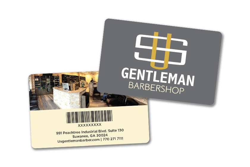 Barber shop gift cards with barcodes