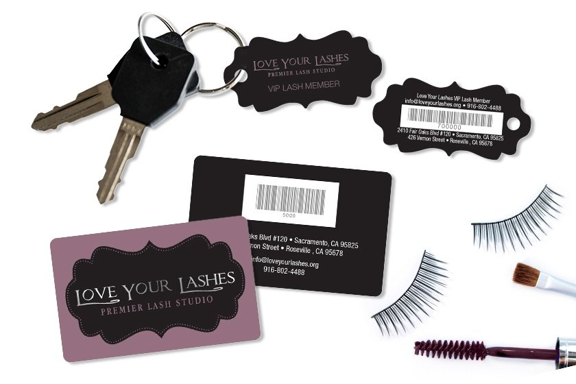 Custom Printed Love Your Lashes Gift Cards with Barcode and Custom Shaped Die Cut Membership Key Tags with Barcode
