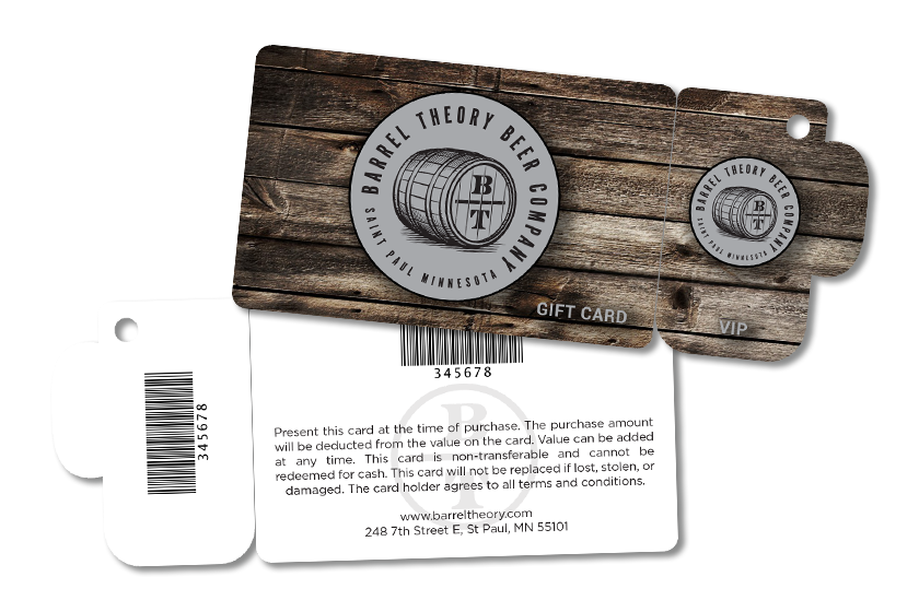 Beer Gift Card and VIP Card for Barrel Theory Beer Company