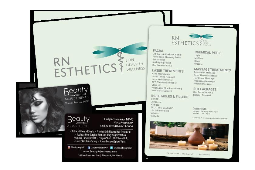 Esthetician Business Cards & Menu