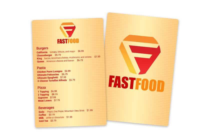 Fast food Menu for your Quick Service Restaurant