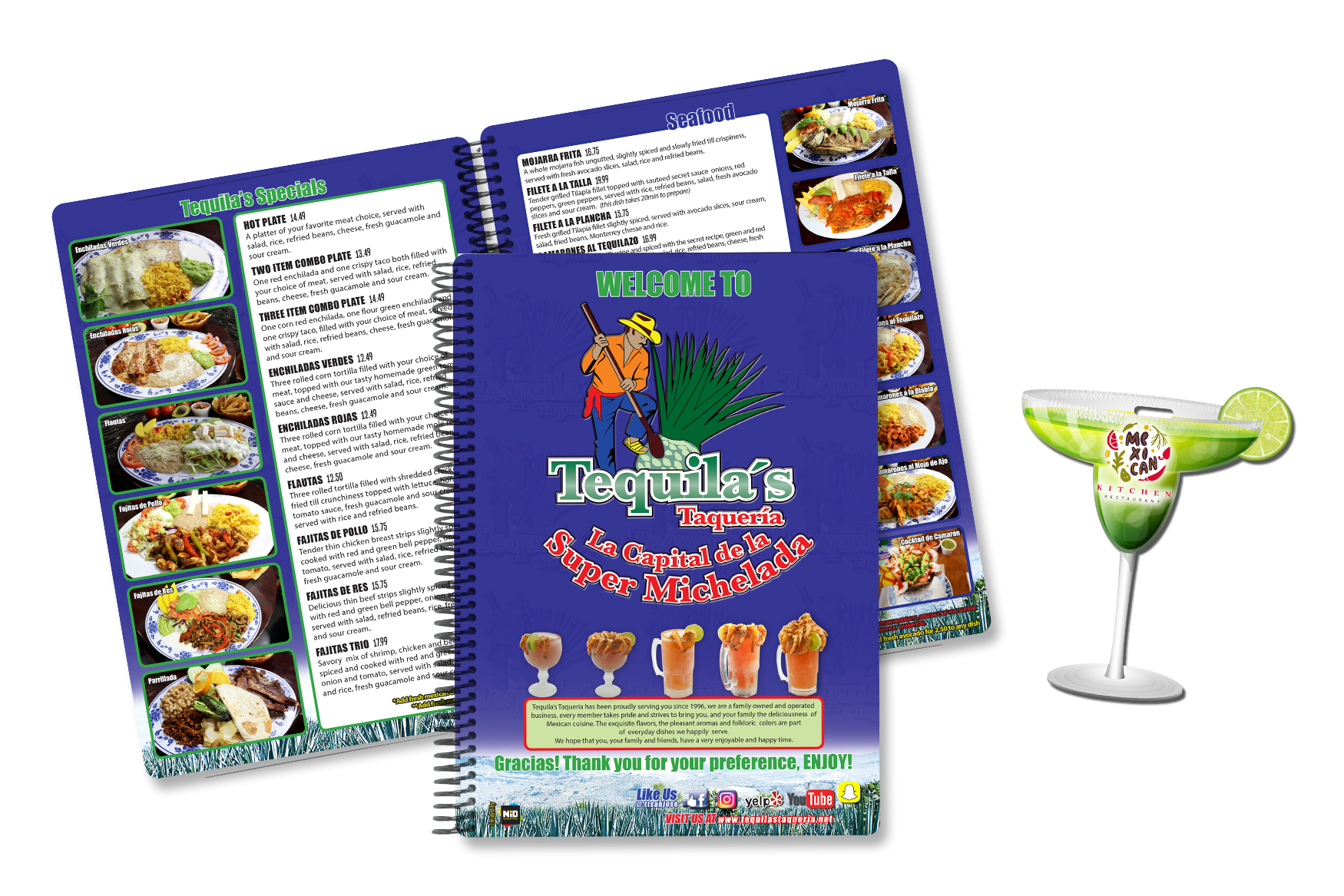 Spiral Bound Menu for your Casual Dining Restaurants