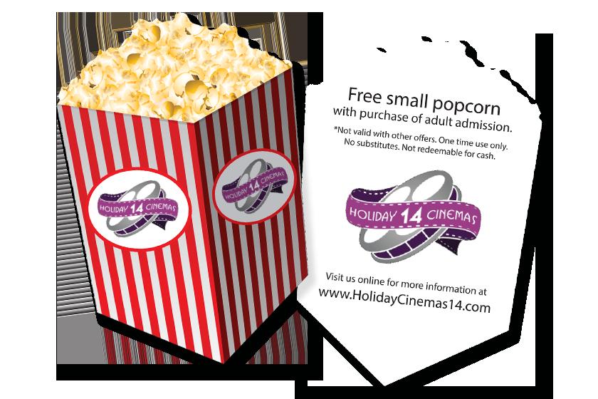 Popcorn Shaped Promo Card for Holiday 14 Cinemas