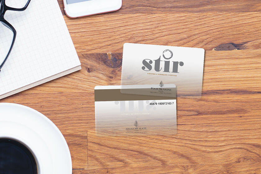 Custom gift cards with frosted features