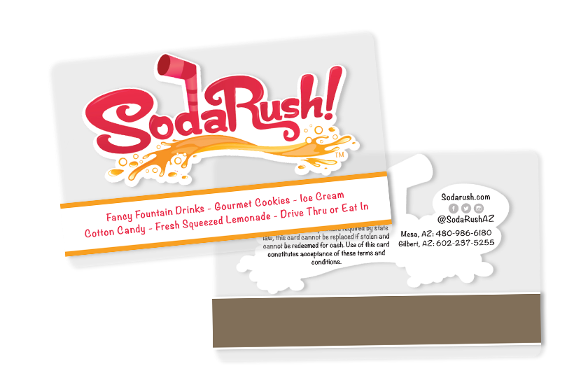 Clear Restaurant Gift Cards with Magnetic Stripe for Soda Rush