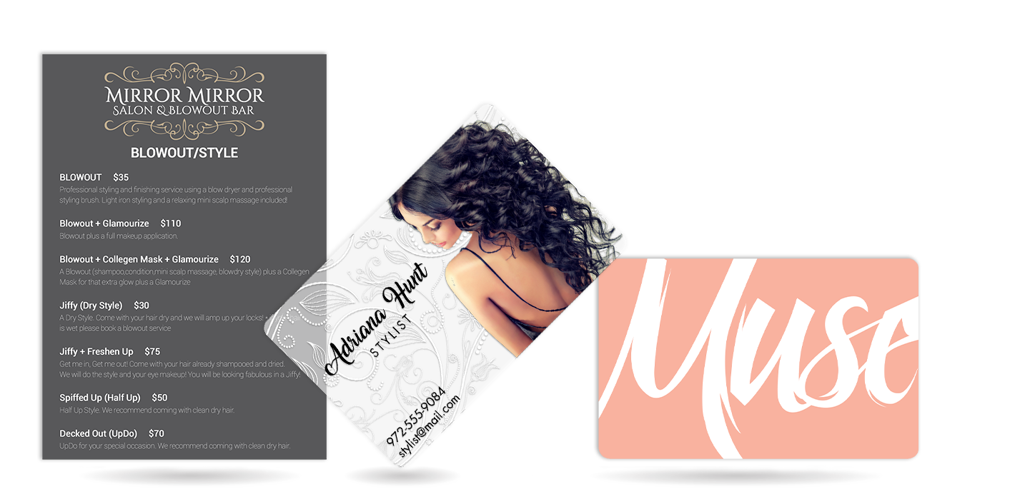 Salon menu, hair stylist business cards, and VIP card
