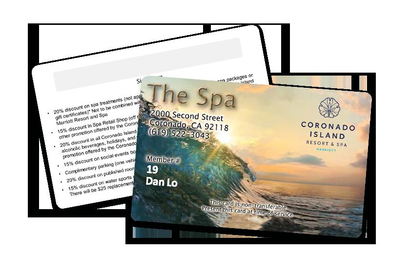 Spa Membership Card for Coronado Island Resort & Spa