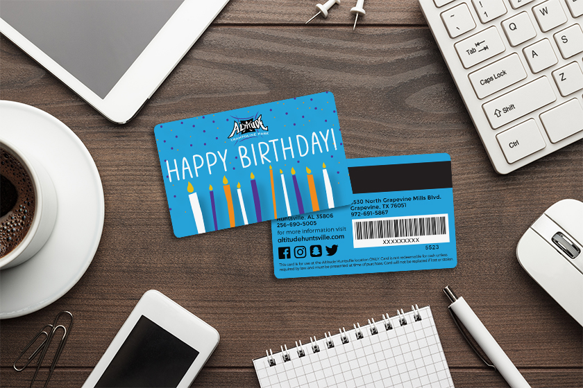 Custom gift cards with a birthday design