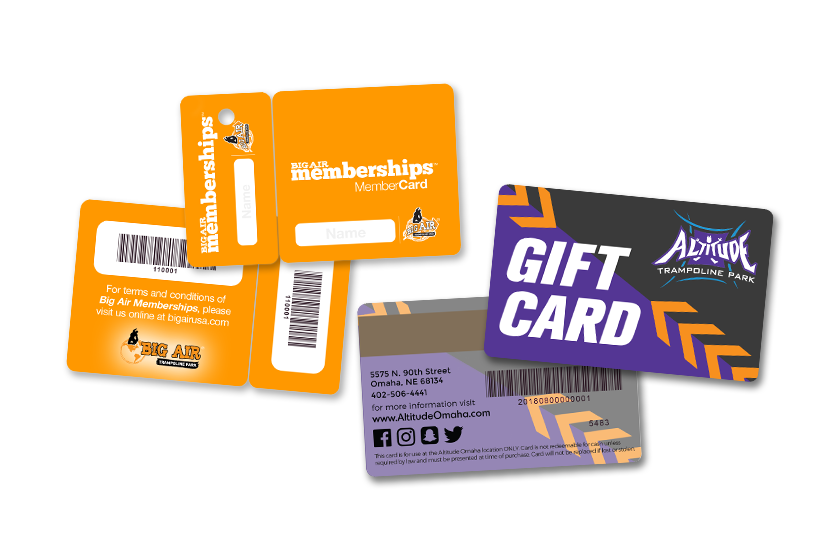 Gift card and membership card and key tag for a trampoline park
