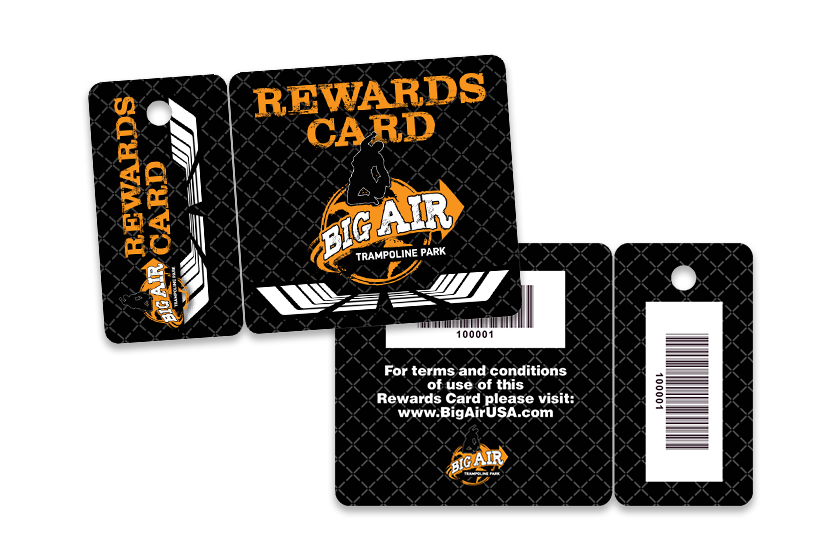 Rewards card combo card for a trampoline park