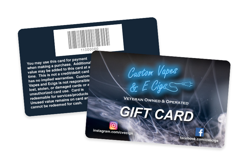Custom Vapes & E Cig Shop Gift Cards with Barcodes