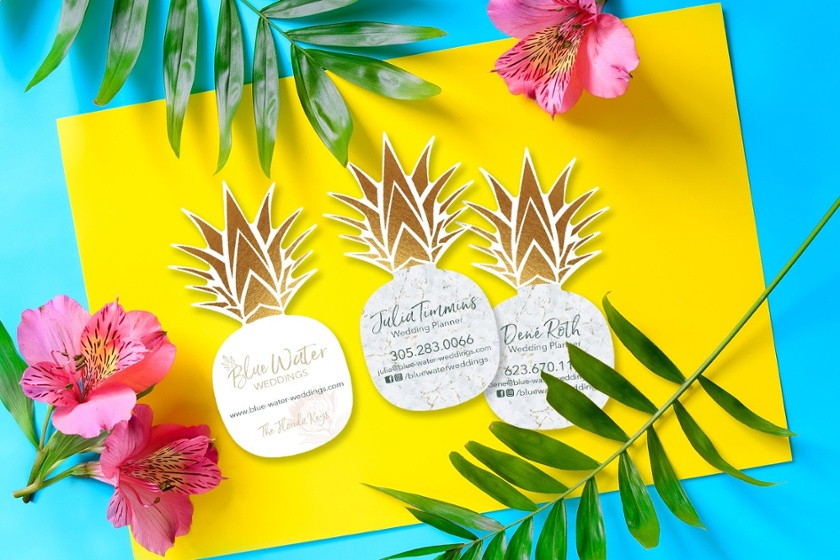 Custom business cards in a pineapple shape from Plastic Printers