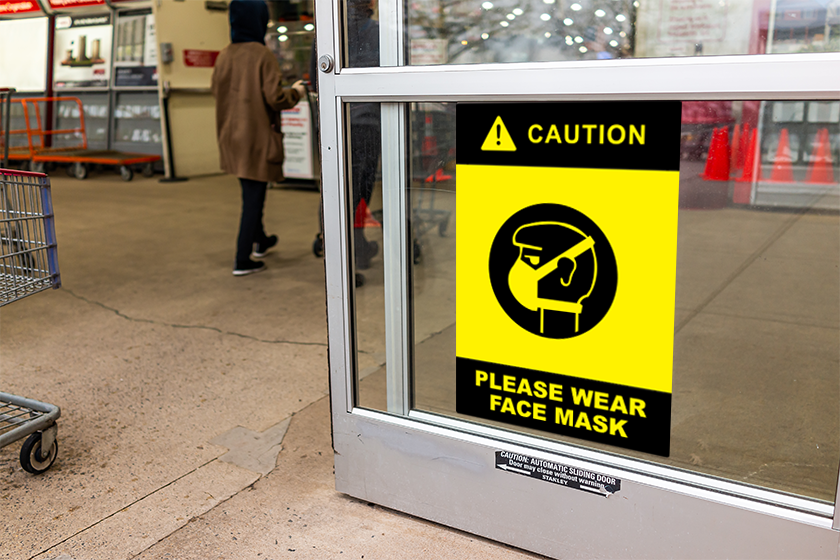 Mask required signage designed by Plastic Printers