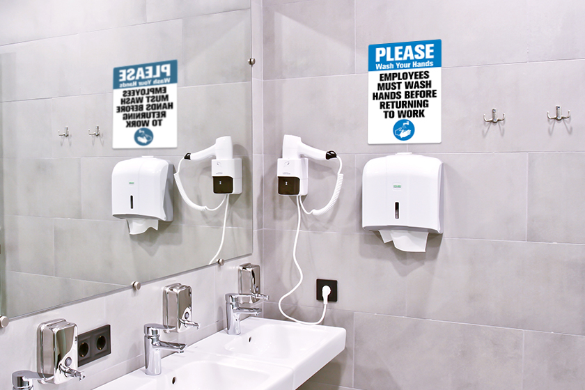 Encourage good hygiene with employees must wash hands signs