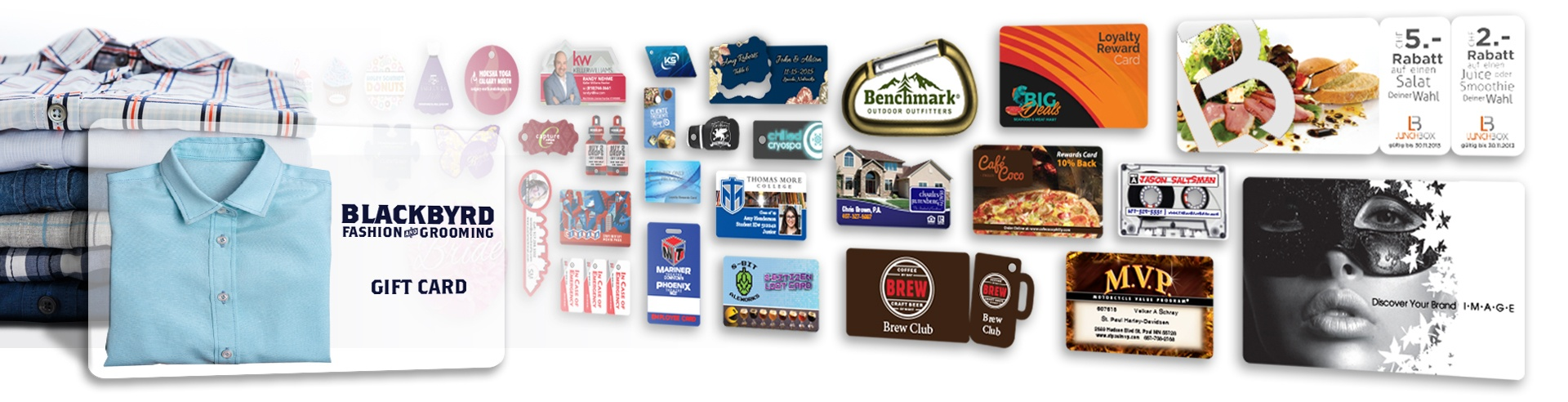 Custom printed unique custom plastic business cards, gift cards, combo cards, key tags, custom shape, die cut cards