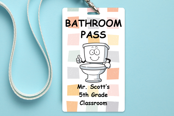 Bathroom pass with lanyard for an academy