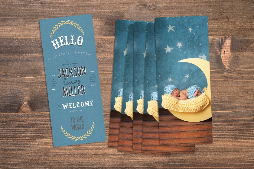Custom Printed Boy Themed Birth Announcements