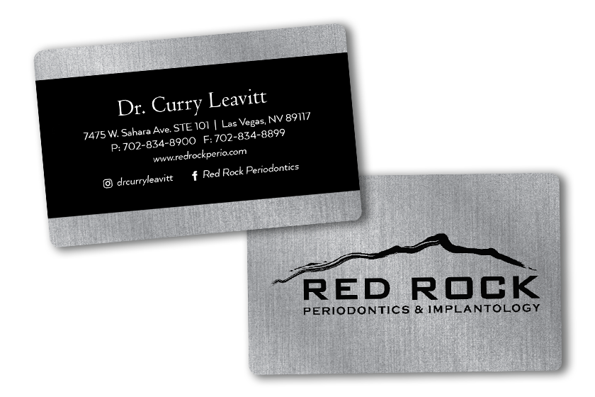 Doctor business cards with brushed metal feature