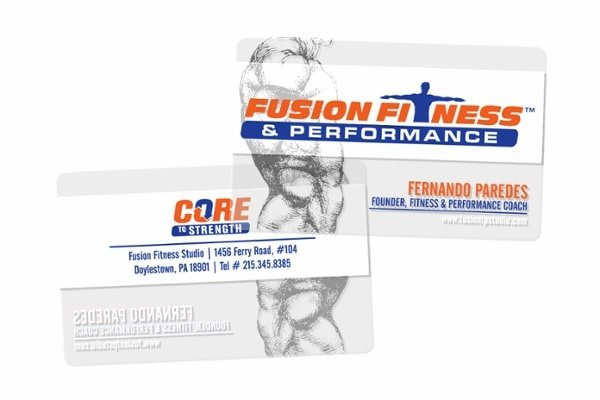 Fusion Fitness & Performance Core Strength Clear Personal Trainer Business Cards