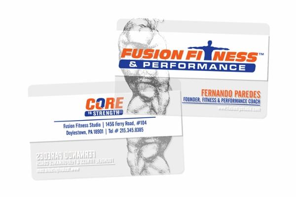 Fusion Fitness & Performance Core Strength Clear Business Cards