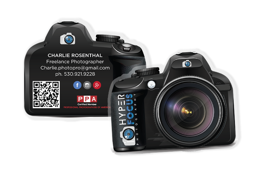 Camera Shaped Camera Business Cards for Hyper Focus Photography