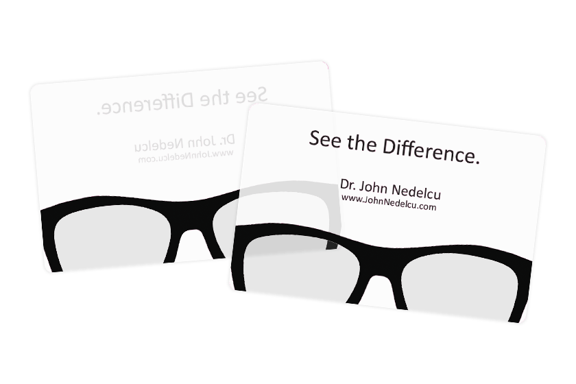 Dr. John Nedelcu's Frosted and Clear Optometry Business Cards