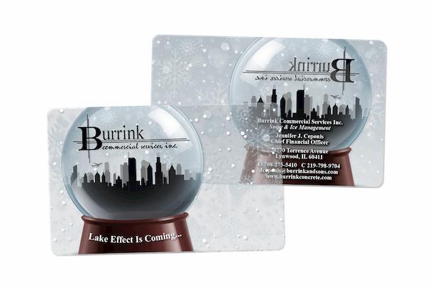 Burrink Snowglobe Clear Plastic Business Cards