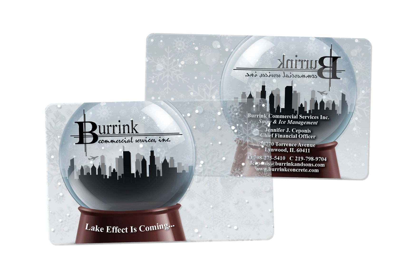 Burrink Snowglobe Clear Plastic Business Cards