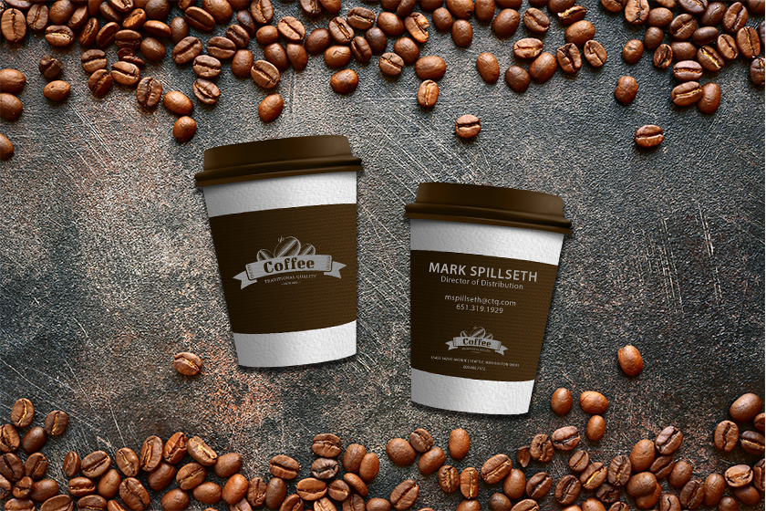 Die cut business cards in the shape of a coffee cup