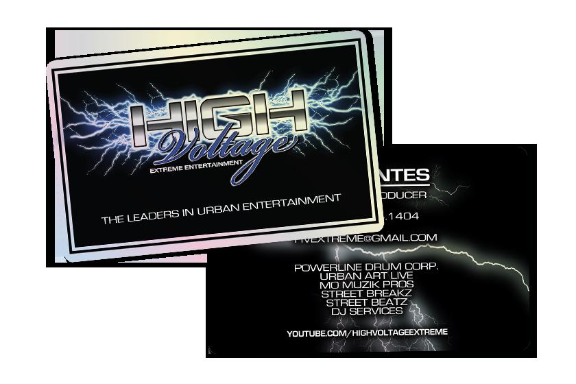 Plastic Business Card for High Voltage Entertainment - Platinum