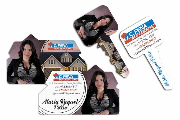 Realtor business cards in custom shapes of house and key