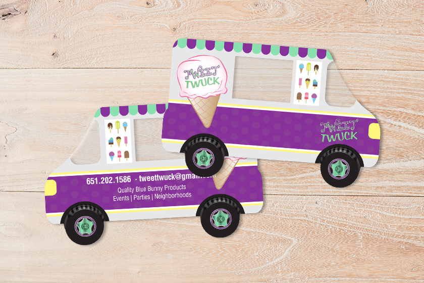 Die Cut Business Card In The Shape Of An Ice Cream Truck