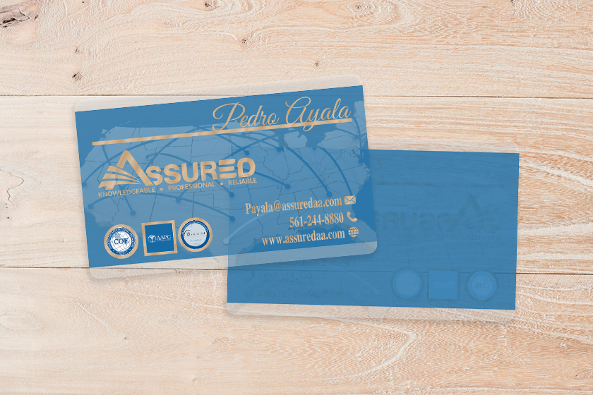 Clear Business Card With Foil Stamping