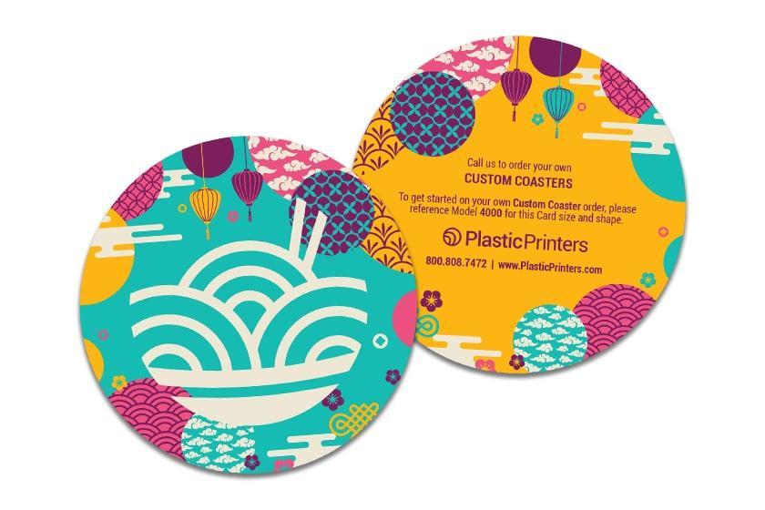 Custom plastic coasters for a restaurant