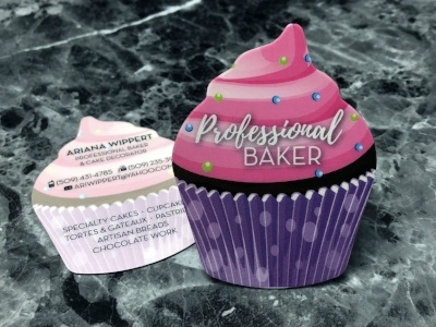 Die Cut Business Cards in the shape of a Cupcake - Bakery Business Card