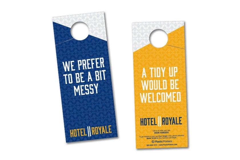 Hotel door hangers for communicating with hotel staff