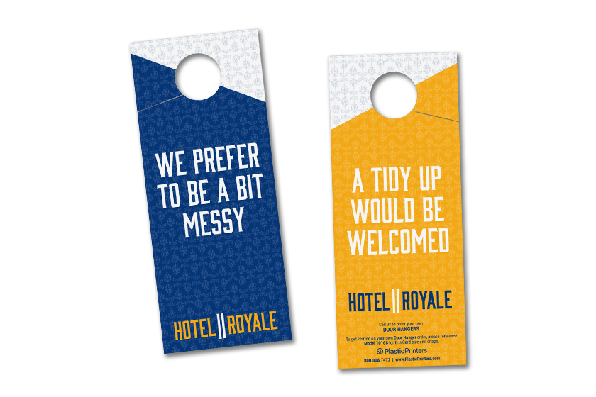 Hotel door hangers for communicating with hotel staff