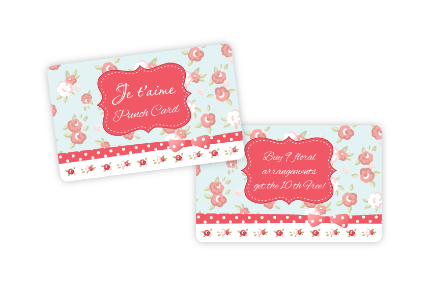 Punch cards for a florist
