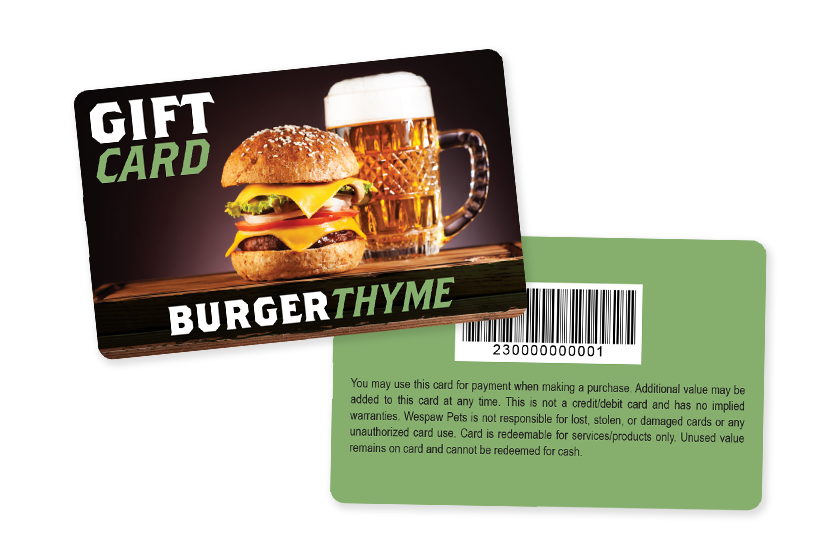 Plastic gift cards for a restaurant
