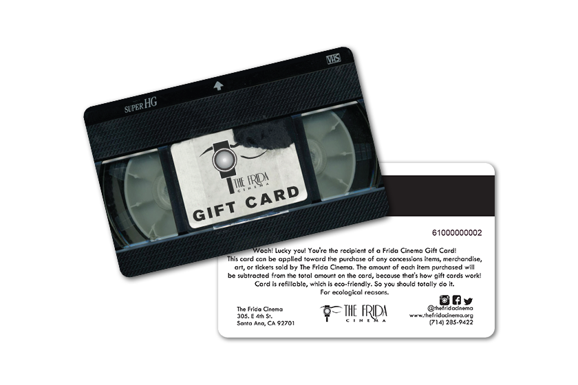 Movie theater gift cards with a magnetic stripe that looks like a cassette