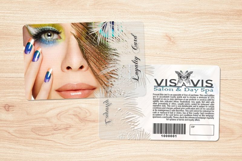 Vis a Vis Transparent Clear Salon Loyalty Card with Writable Back and Barcode
