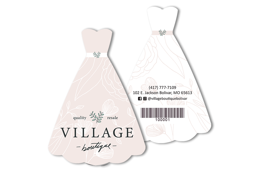 Retail gift cards in the custom shape of a dress for a boutique