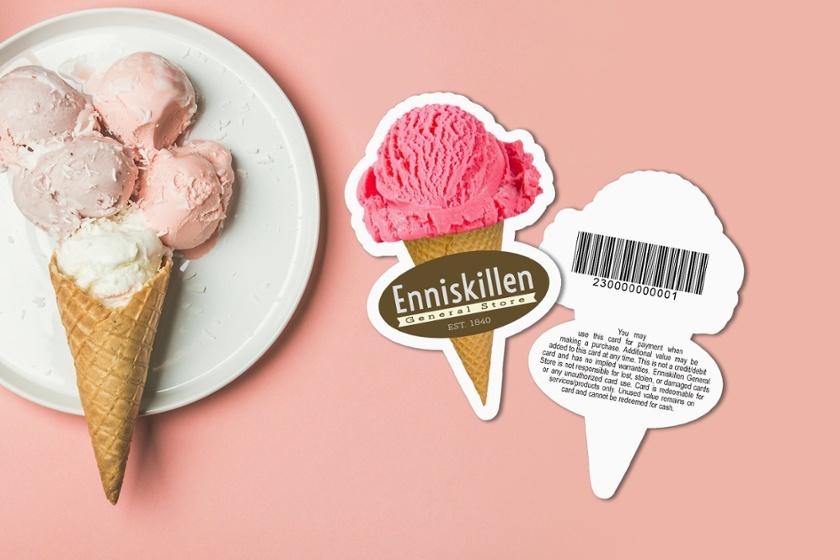 Gift-Card-Die-Cut-Barcode-Ice-Cream-Cone-Enniskillen-General-Store-KT10287-HS117190-Sample-1